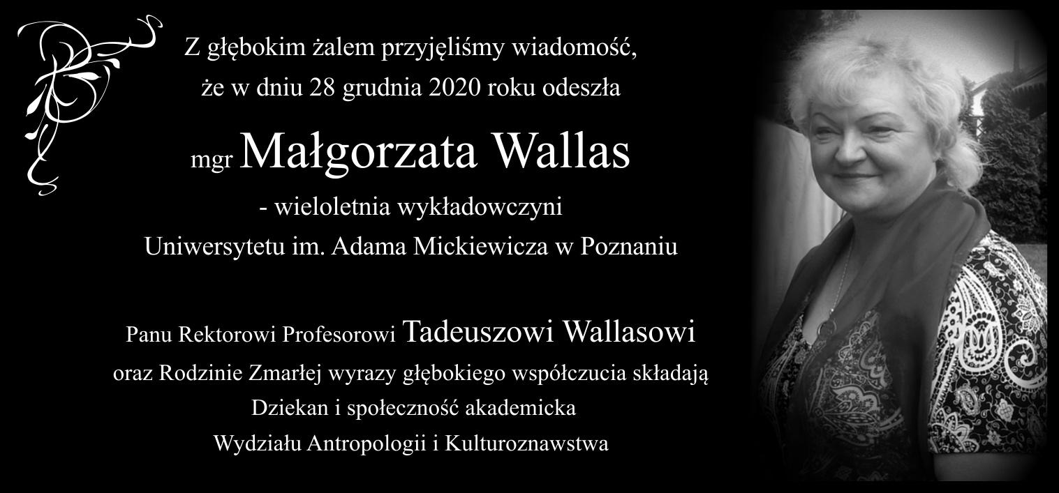 Odeszła mgr Małgorzata Wallas